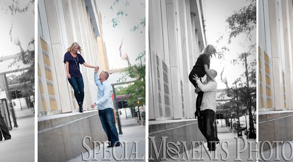 Julie & Steve's Downtown Detroit Engagement Pictures taken in the summer.