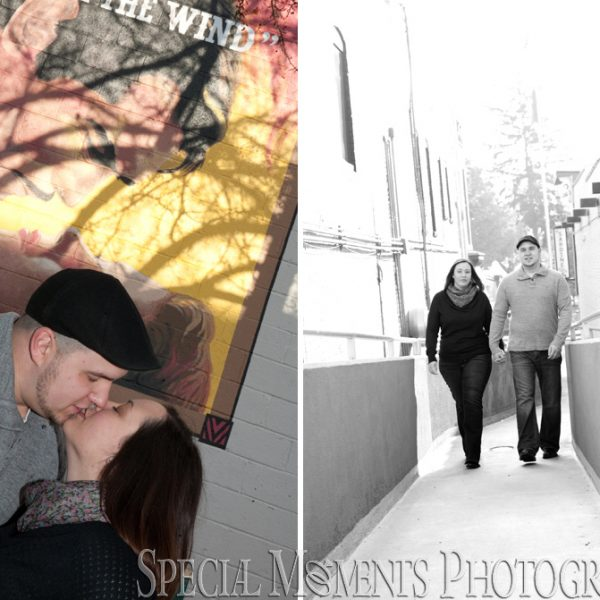 Anna & Aaron's engagement photographs taken in Downtown Plymouth MI