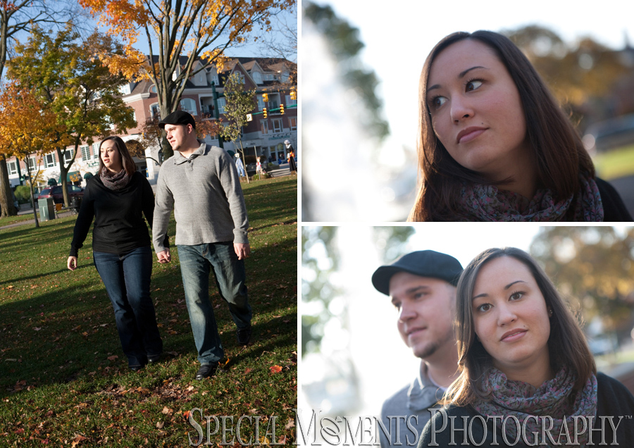 downtown Plymouth MI wedding engagement photograph