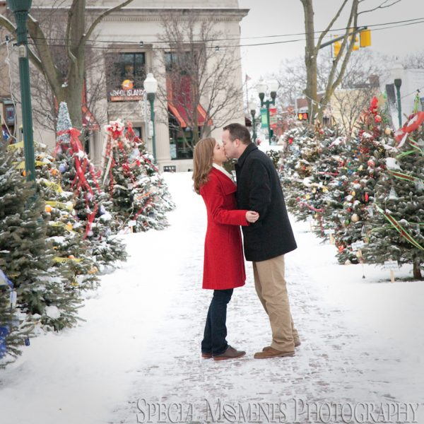 Christen & Erik's Winter Engagement Photos in Downtown Plymouth MI