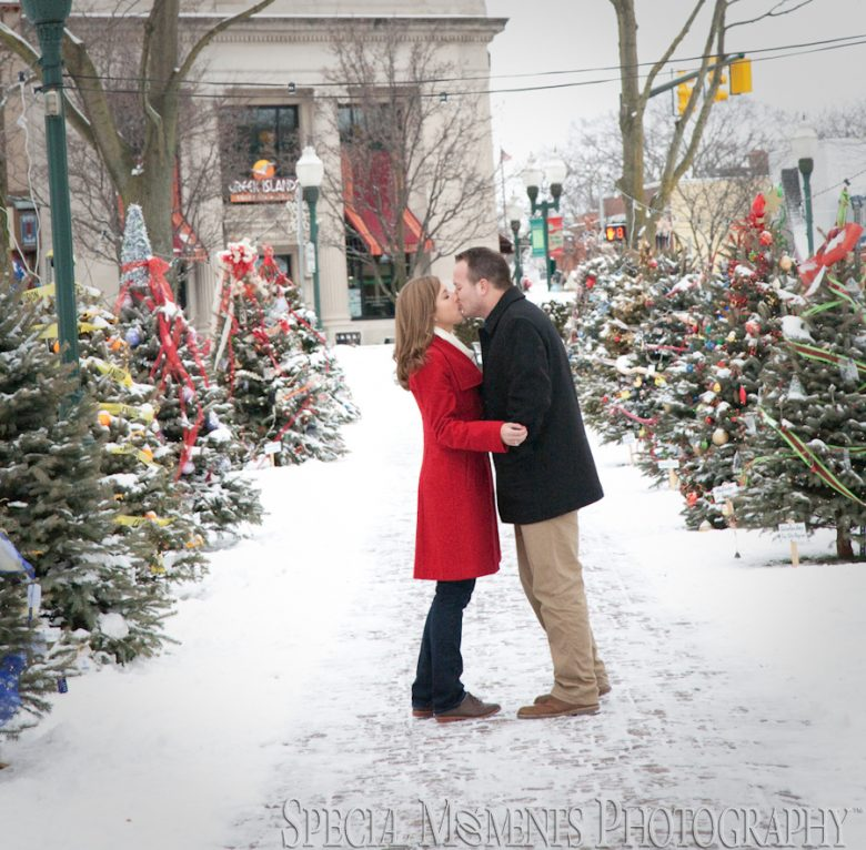Downtown Plymouth MI engagment photograph