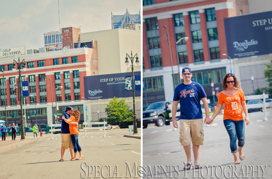 Downtown Detroit engagement photograph