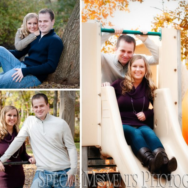 Sara & Mark's On A Beautiful Fall Day at in Depot Park Clarkston | Engagement Photos In Michigan