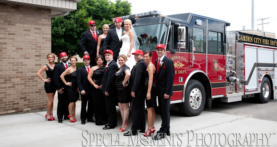Garden City Fire Department wedding photograph