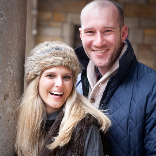 Julianne & Jason outdoor engagement photos winter at Law Quad Ann Arbor MI