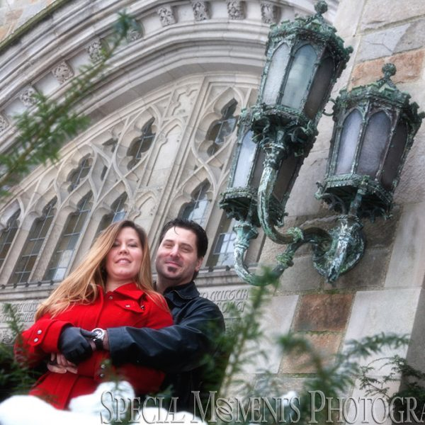 Laura & Christian's Engagement Photos at The Law Quad Ann Arbor MI