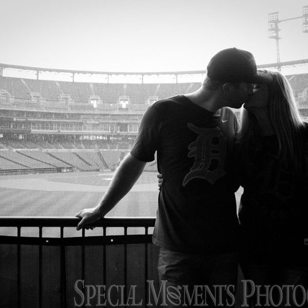 Andrea & Stephen's Engagement Photos at Comerica Park Detroit MI