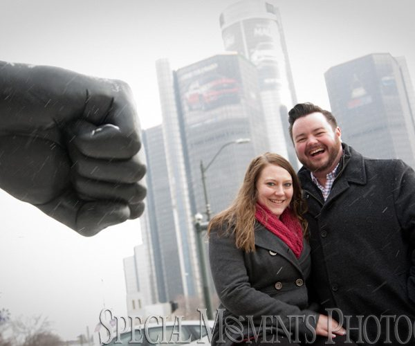Marie & Steven's Detroit Engagement Photos in Downtown Detroit when the snow was flying!