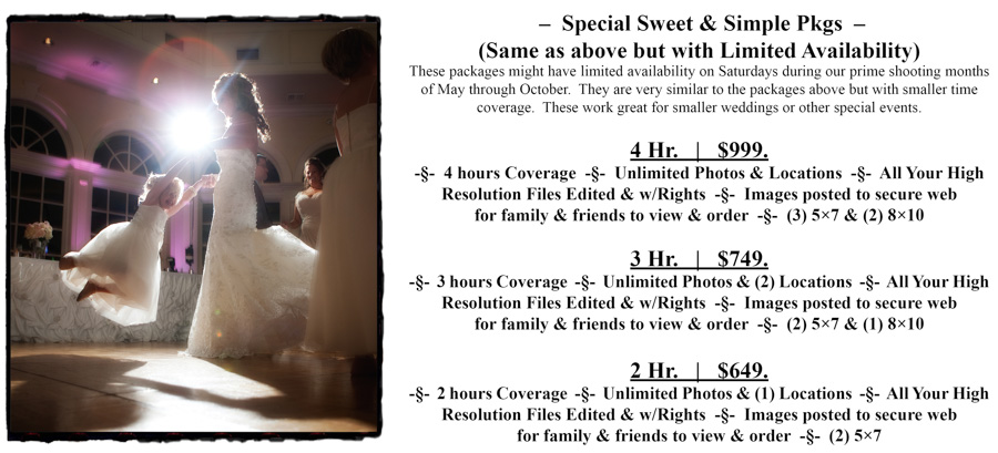 SS 2-4 hr. Special Moments Photography Pricing wedding photograph