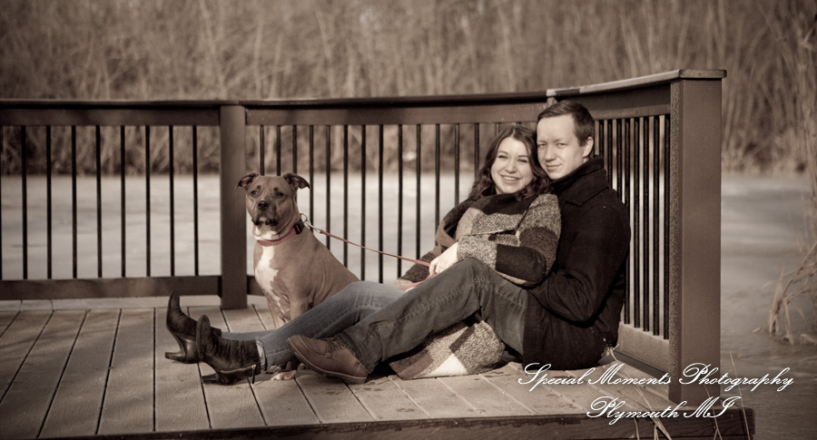 Long Park Commerce Twp. MI winter engagement photograph
